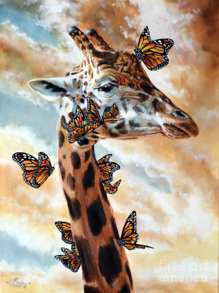 Giraffe Painting - Fleeting by Lachri