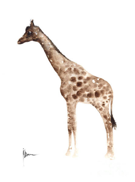 Giraffe Painting - Giraffe Watercolor Art Print Painting African Animals Poster by Joanna Szmerdt