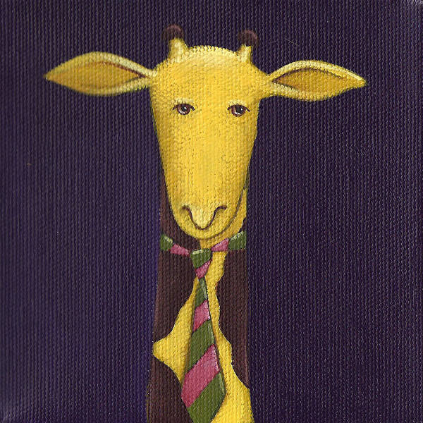 Mustard Painting - Giraffe Wearing Tie by Christy Beckwith