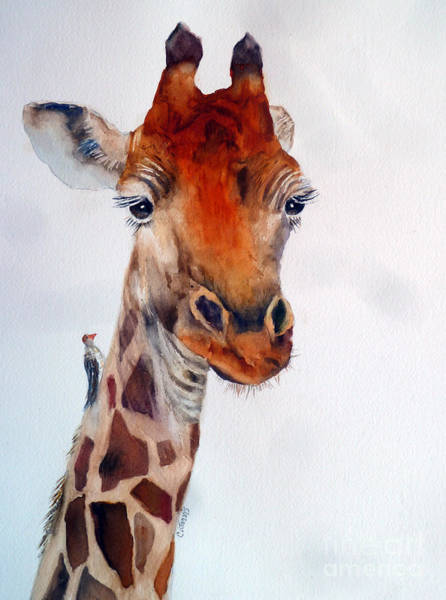 Painting - Giraffe With Bird by Carolyn Jarvis