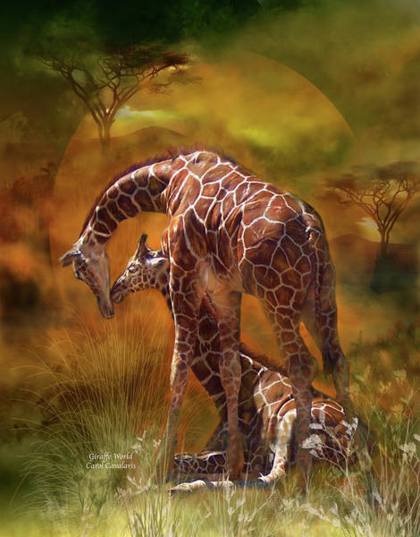 Mixed Media - Giraffe World by Carol Cavalaris