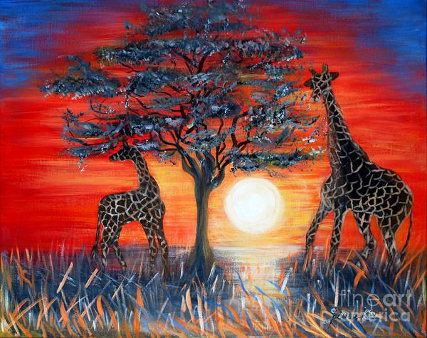 Painting - Giraffes. Inspirations Collection. by Oksana Semenchenko