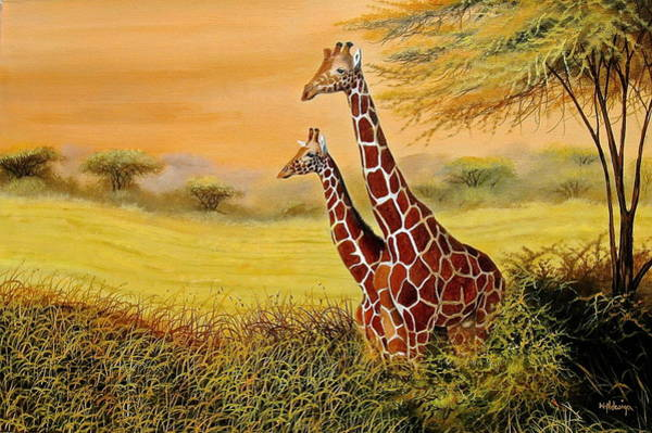 Painting - Giraffes Watching by Wycliffe Ndwiga