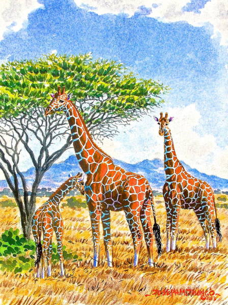 Painting - Giraffes With Baby by Joseph Thiongo