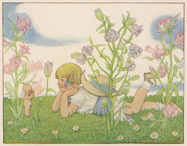 Folklore Drawing - Girl And A Baby Fairy 'would by Mary Evans Picture Library