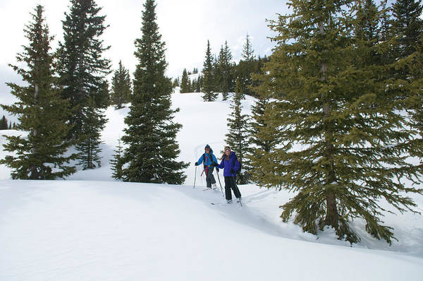 Silverton Photograph - Girl And Boy Backcountry Skiing by Kennan Harvey