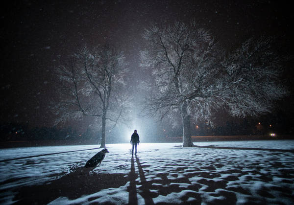 Casual Photograph - Girl And Dog On A Cold Winter Night by Jon Paciaroni