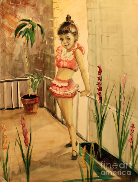 Painting - Girl And Gadiolus by Art By Tolpo Collection