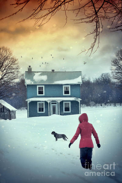 Photograph - Girl And Her Dog Walking To Farm House by Sandra Cunningham
