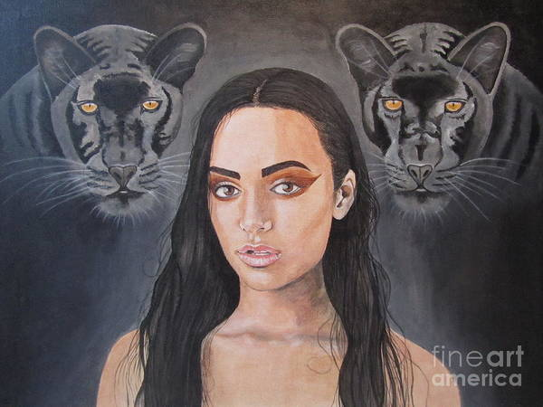 Wall Art - Painting - Girl And Panther by Jeepee Aero