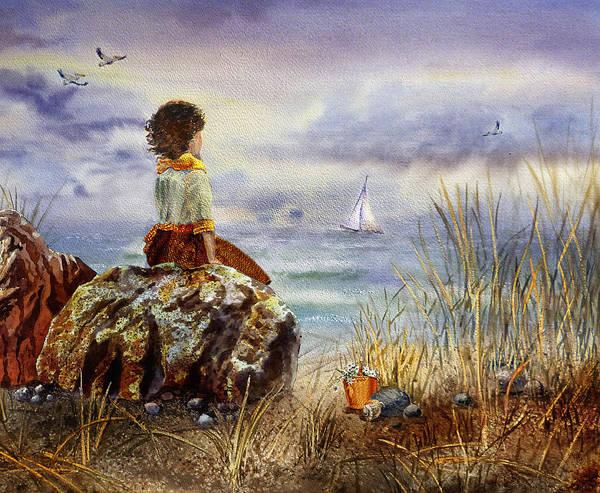 Wall Art - Painting - Girl And The Ocean Sitting On The Rock by Irina Sztukowski