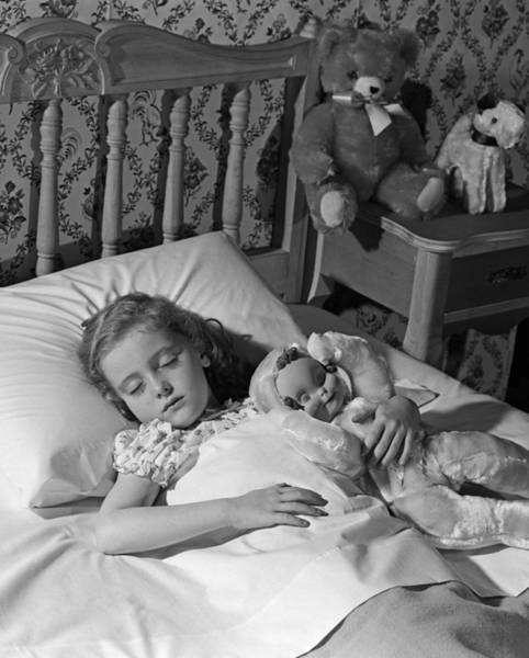 Wall Art - Photograph - Girl Asleep In Bed, C.1950-60s by H. Armstrong Roberts/ClassicStock