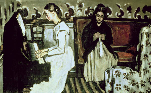 Impressionist Photograph - Girl At The Piano Overture To Tannhauser, 1868-69 Oil On Canvas by Paul Cezanne