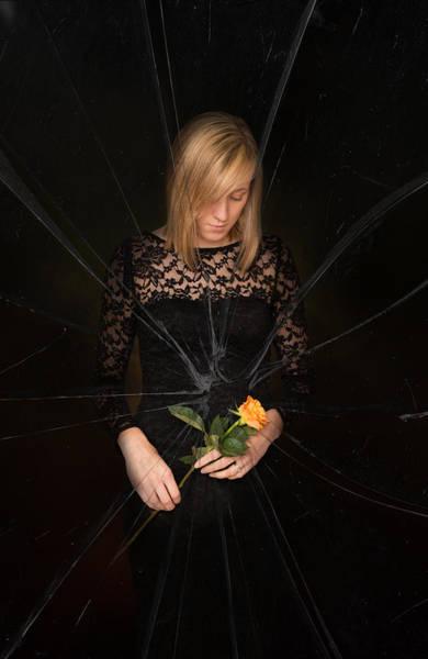 Shattered Photograph - Girl Holding Rose by Amanda Elwell