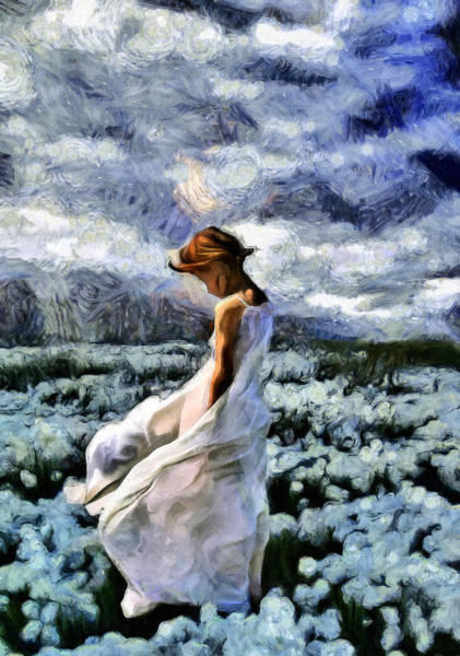 Girl In A Cotton Field Art Print