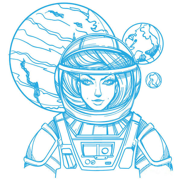 Astronaut Digital Art - Girl In A Spacesuit For T-shirt Design by Filkusto
