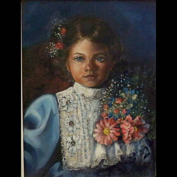 Wall Art - Painting - Girl In Blue by Saundra Bolen Samuel