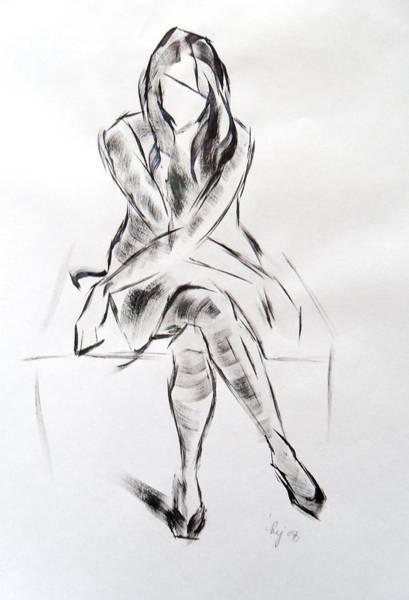 Painting - Girl In Dress Sitting by Mike Jory