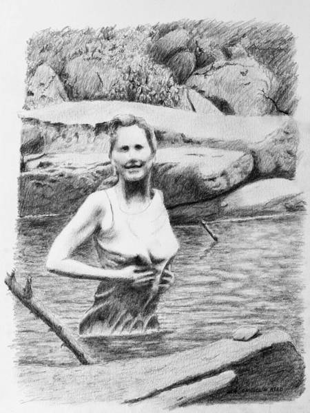 Drawing - Girl In Savage Creek by Daniel Reed