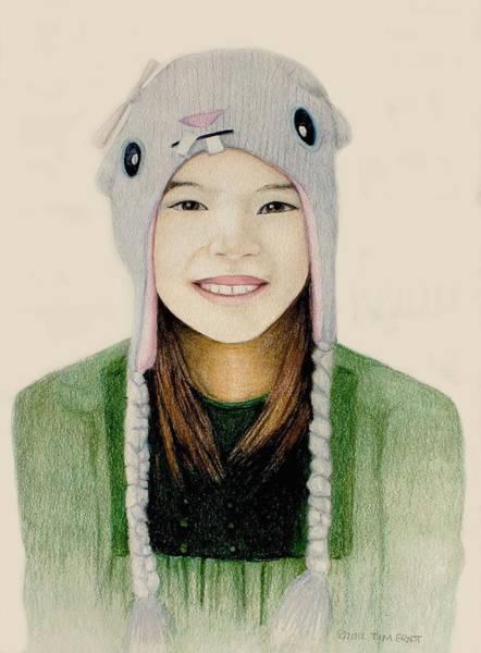 Girl In The Rabbit Cap Art Print