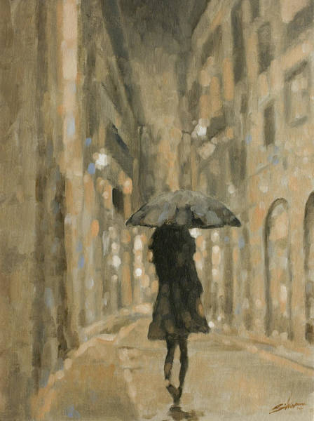 Painting - Girl In The Rain by John Silver
