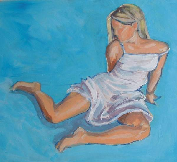 Painting - Girl In White Dress by Mike Jory