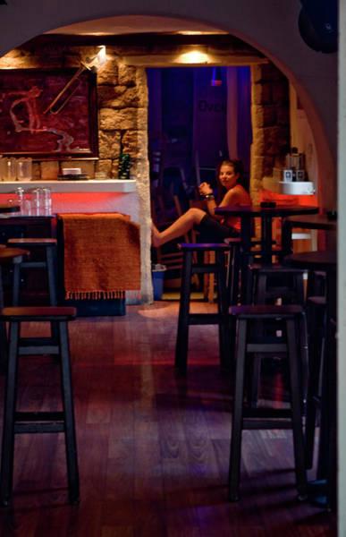 Photograph - Girl Inside The Cafe by Lorraine Devon Wilke