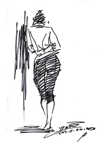 Pretty Wall Art - Drawing - Girl Leaning Against Wall by Ylli Haruni
