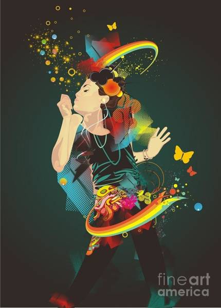 Digital Illustration Digital Art - Girl Making Soap Bubbles,rainbow And by Gudron