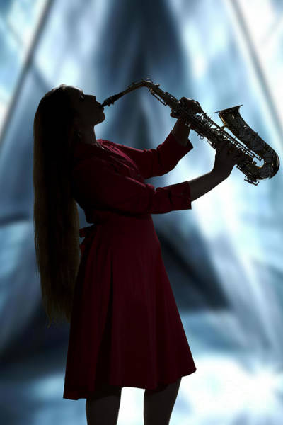 Photograph - Girl Musician Playing Saxophone In Silhouette Color 3353.02 by M K Miller