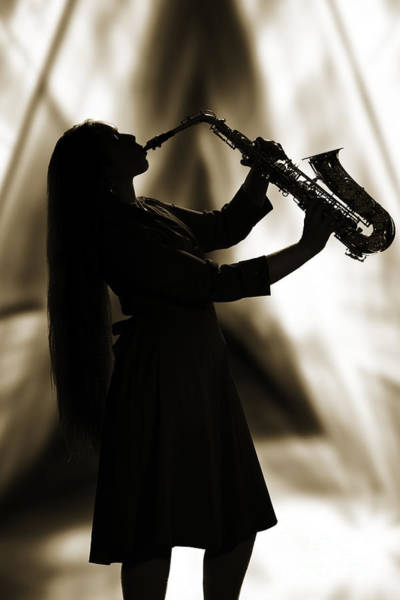 Photograph - Girl Musician Playing Saxophone In Silhouette Sepia 3353.01 by M K Miller