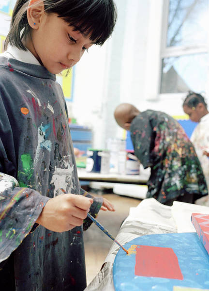 Classroom Photograph - Girl Painting At School by Martin Riedl/science Photo Library