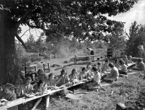 Wall Art - Photograph - Girl Scout Picnic by Underwood Archives
