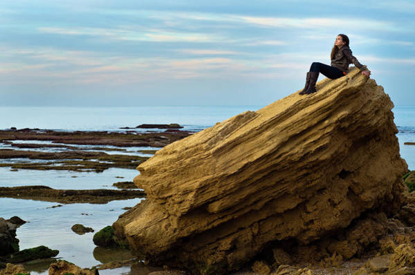 Casual Photograph - Girl Sitting On A Rock By The Sea by Ilan Shacham