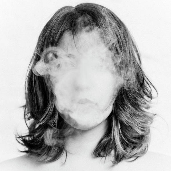 White Background Photograph - Girl Smoking by Lita Bosch