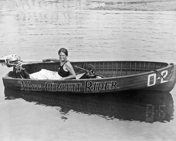 Outboard Photograph - Girl Speedboatdriver To Race In President's Cup Races by Underwood Archives