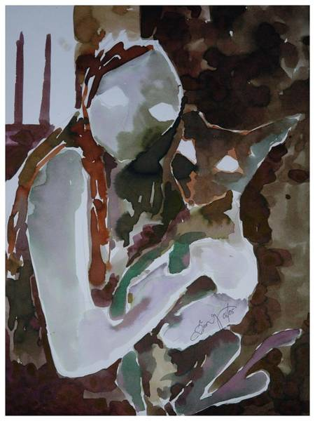 Kannan Painting - Girl With A Cat by Sooraj Kannan