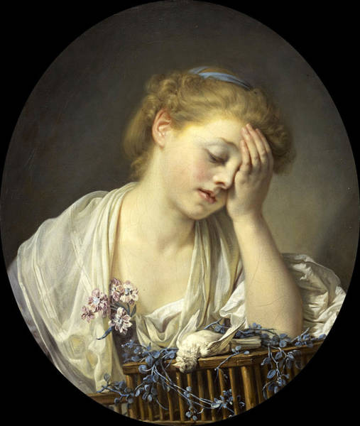 Canaries Painting - Girl With A Dead Canary by Jean-Baptiste Greuze