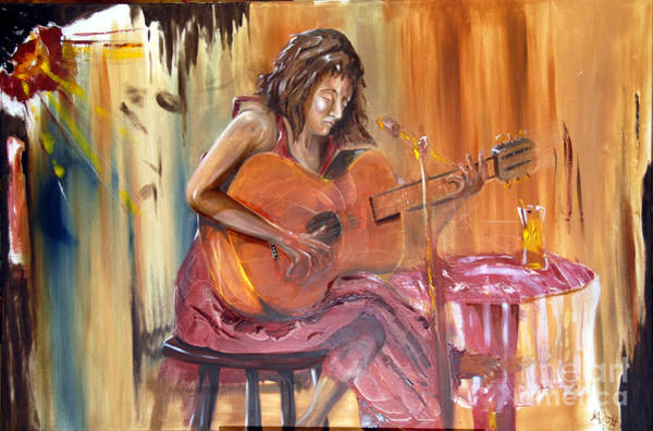 Painting - Girl With A Guitar by James Lavott