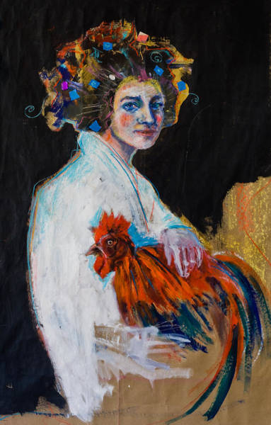 Painting - Girl With A Rooster by Maxim Komissarchik