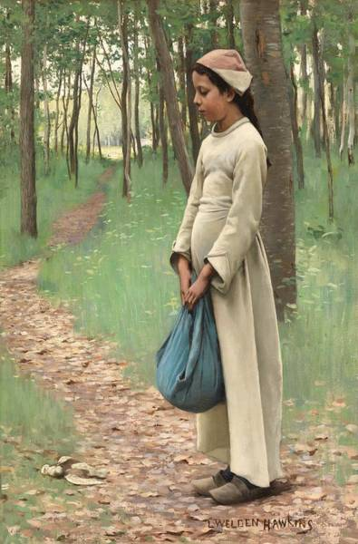 Lone Tree Painting - Girl With Bindle by Louis Welden Hawkins