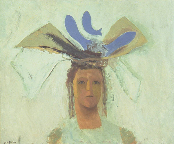 Headdress Photograph - Girl With Blue Fish Oil On Board by David Alan Redpath Michie