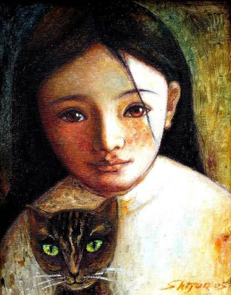 Wall Art - Painting - Girl With Cat by Shijun Munns