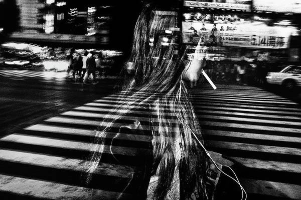 Street Photograph - Girl With Cigarette by Tatsuo Suzuki
