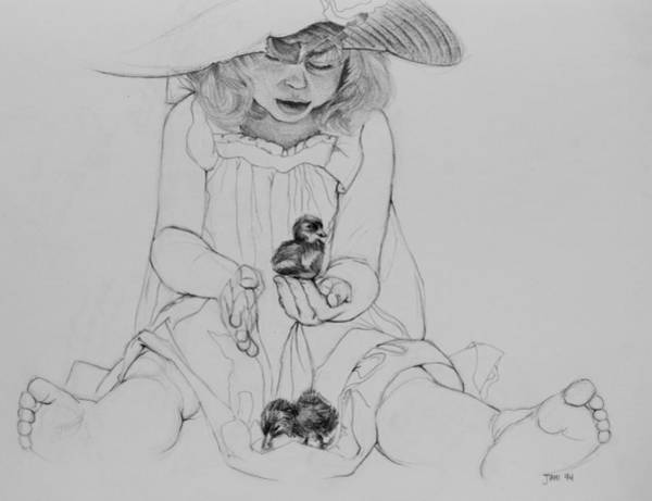 Drawing - Girl With Ducklings by Jani Freimann