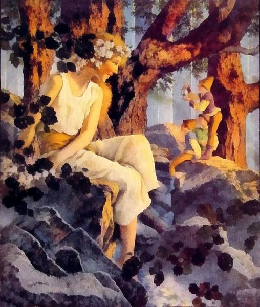 Wall Art - Photograph - Girl With Elfs by Maxfield Parrish