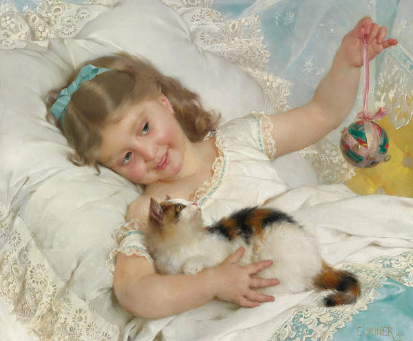 Matter Painting - Girl With Kitten by Emile Munier