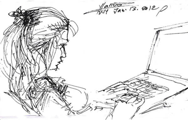 With Wall Art - Drawing - Girl With Laptop  by Ylli Haruni