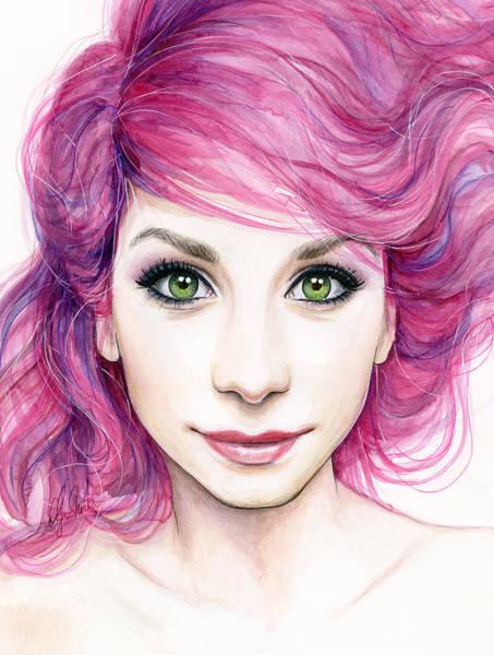 Green Eye Painting - Girl With Magenta Hair by Olga Shvartsur