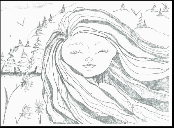 Drawing - Girl With Mountain by Jacqueline Athmann